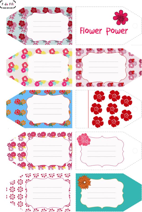 Etiquetas primaverales imprimibles chillonas