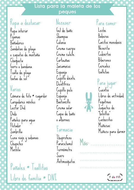 Lista de cosas que no hay que olvidar cuando uno tiene hijos y se va de vacaciones