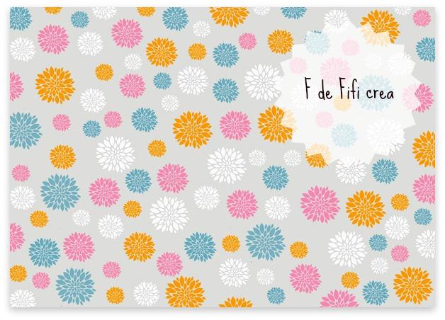 Motivo floral con fondo gris - Imprimible