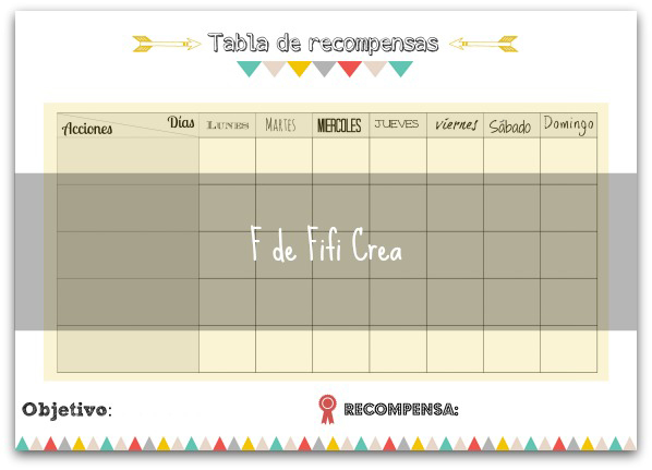 Tabla de recompensas para niños - Imprimible