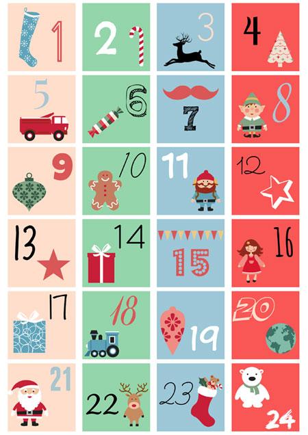Números descargables e imprimibles para tu calendario del adviento