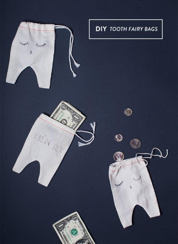 Idea DIY para el Ratoncito Perez: una bolsita en forma de diente