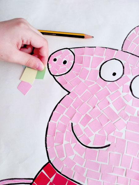 Dibujos decorados con mosaico de papel, una manualidad ideal para niños