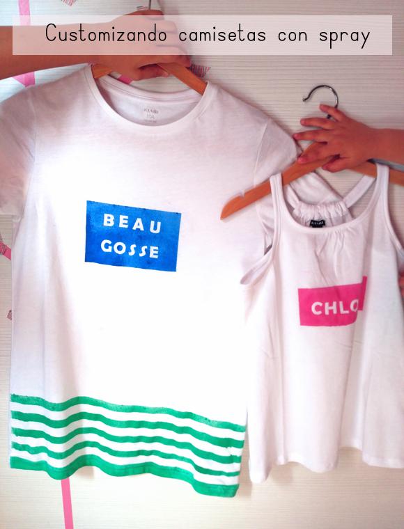Camisetas decoradas con spray de La Pajarita para el #desafiocraftlover