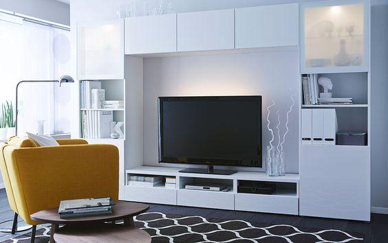decoraci n 15 composiciones de muebles tv con la serie besta de ikea. Black Bedroom Furniture Sets. Home Design Ideas