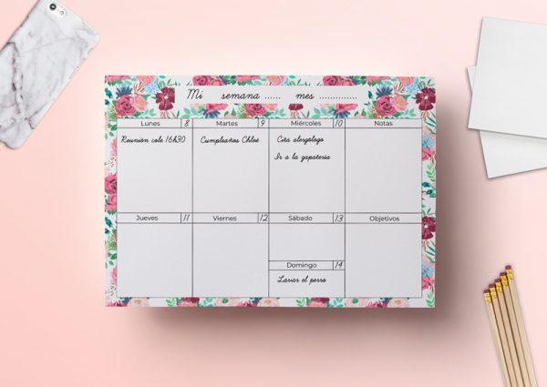 Calendario semanal descargable flores
