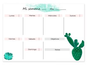 Calendario semanal descargable cactus