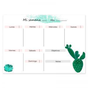 Calendario semanal descargable cactus