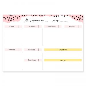 Planificador semanal descargable confetti rosa