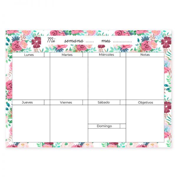 Planificador semanal descargable flores