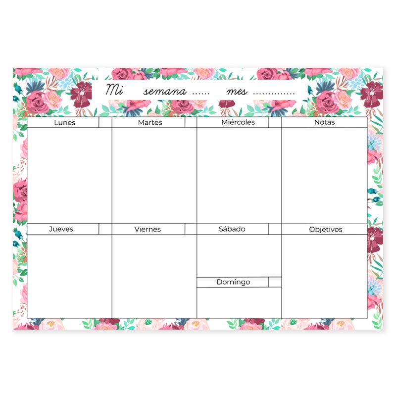Calendario Semanal.Planificador Semanal Flores