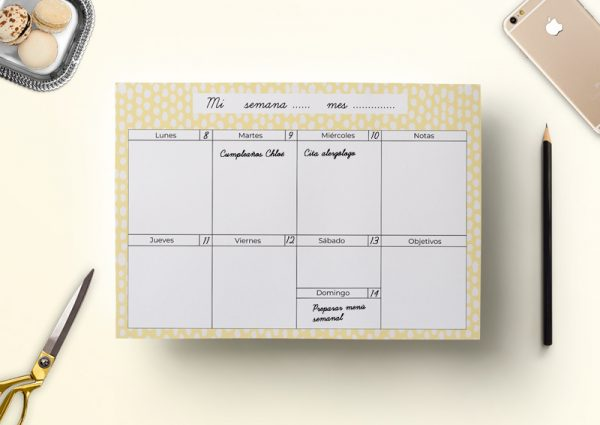 Calendario semanal descargable dots amarillo