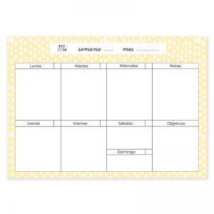 Planificador semanal descargable dots amarillo