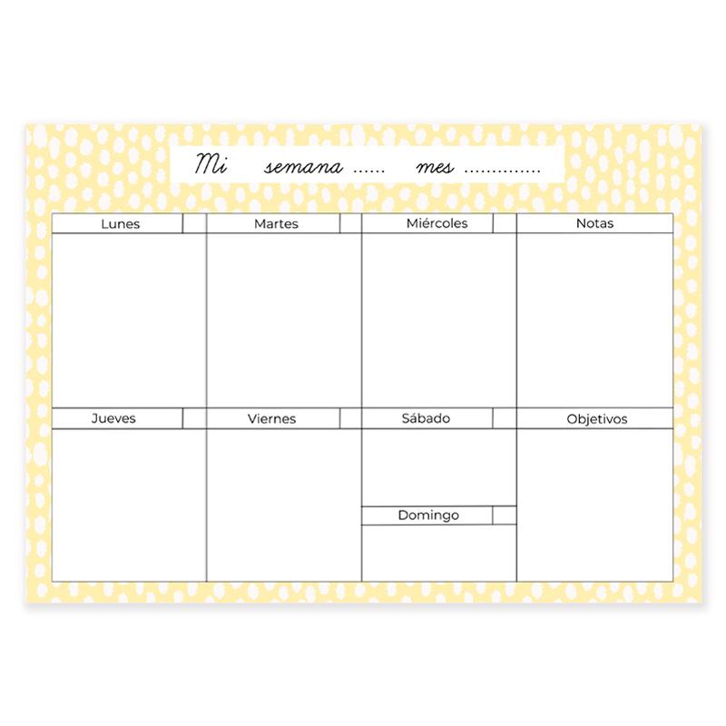 Calendario Semanal.Planificador Semanal Dots Amarillo